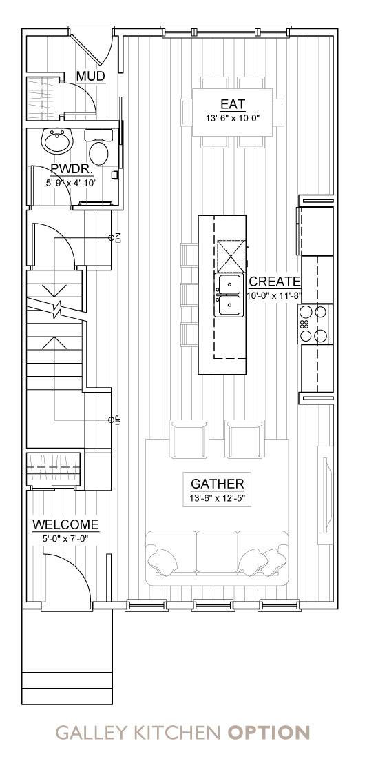 Carrington Street Towns - Floor Plan - Galley Kitchen