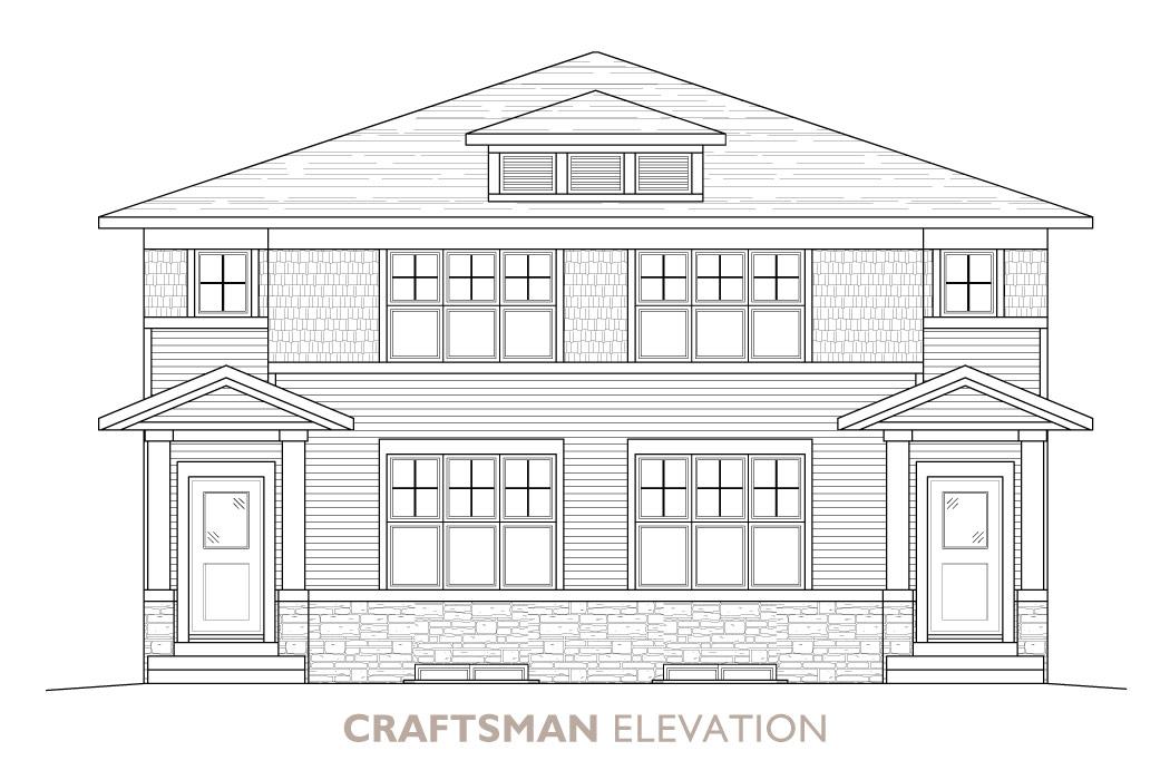 Walden-Duplex-Craftsman Elevation