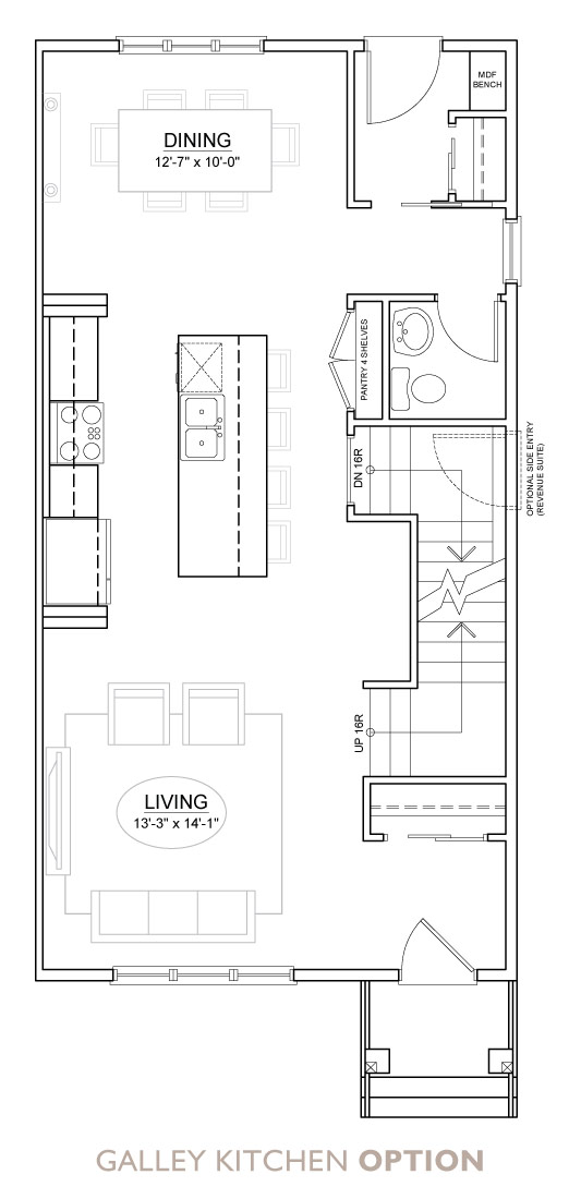 Walden - Duplex - Floor Plan - Galley Kitchen