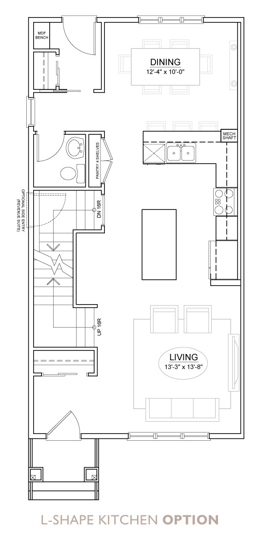 Walden - Duplex - Floor Plan - L Kitchen
