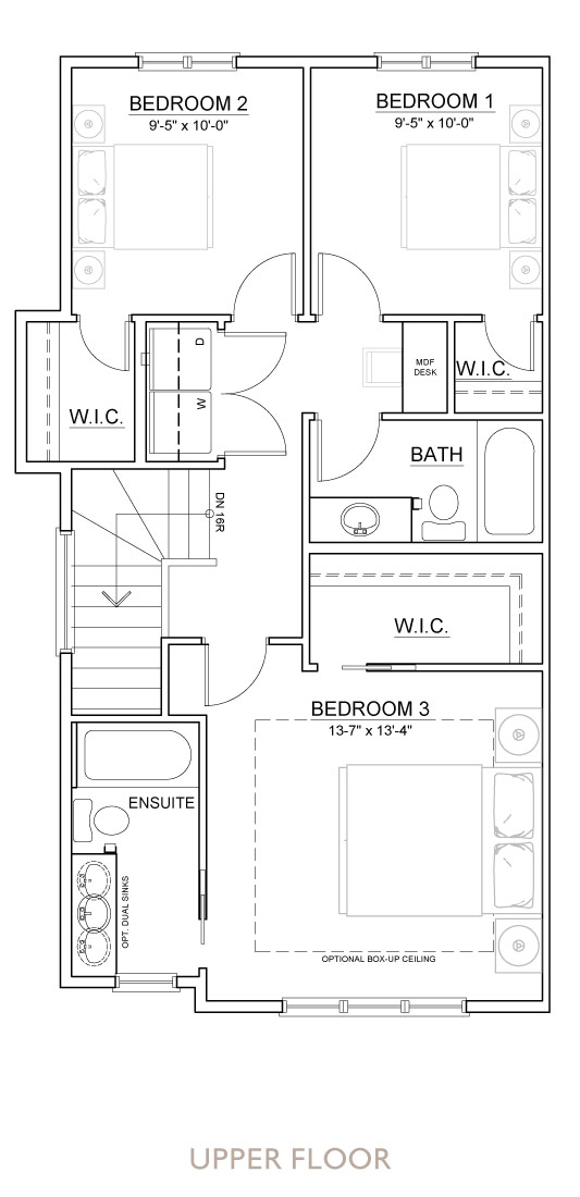 Walden - Duplex - Floor Plan - Upper
