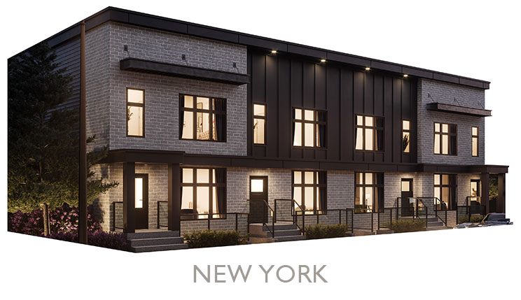 Street Town Home - Elevation - Grey Brick