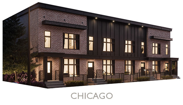 Street Town Home - Elevation - Red Brick