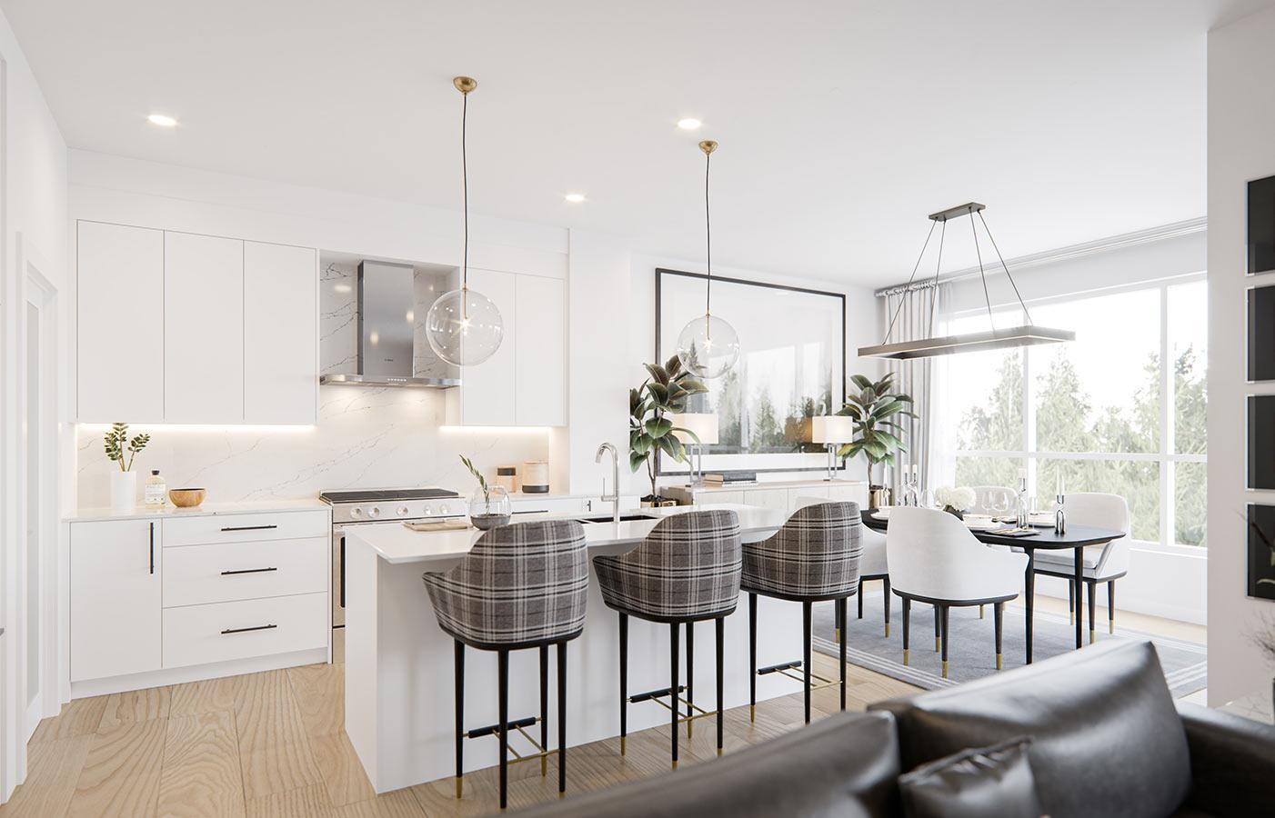 All white open layout kitchen