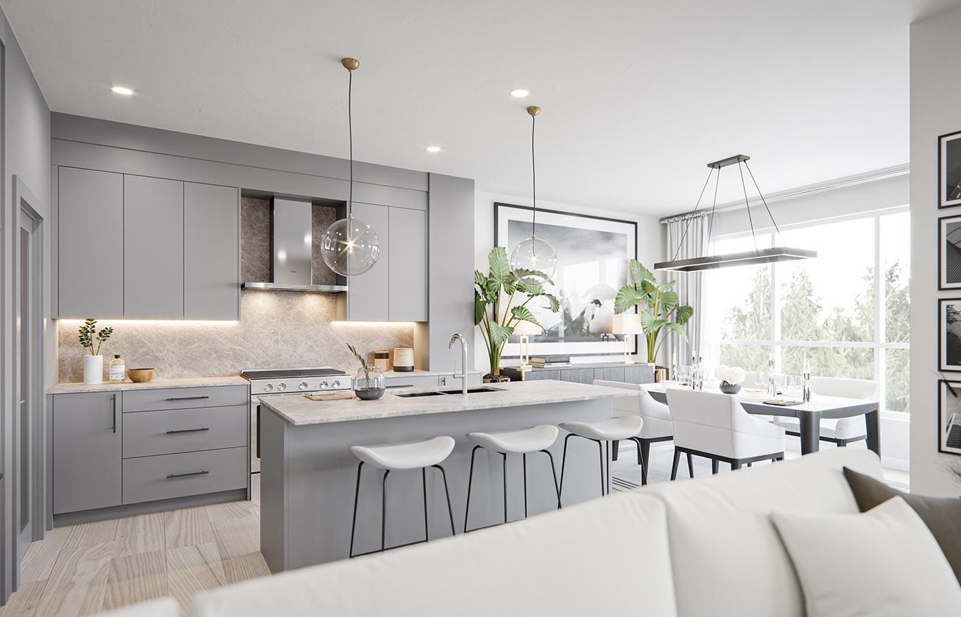Grey kitchen with Marble style Backsplash & Countertops