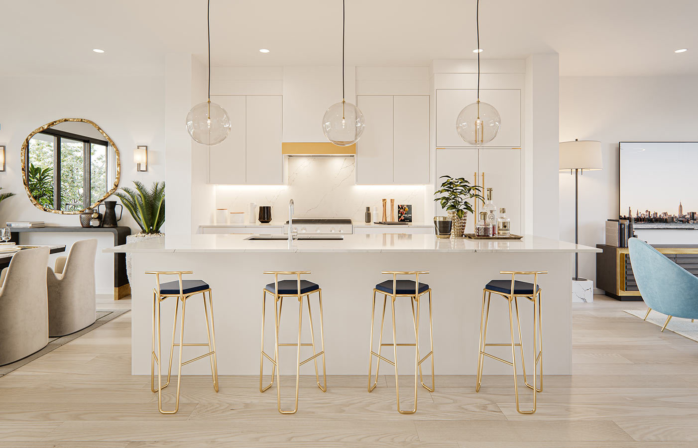 White Open Layout Kitchen with Marble tile