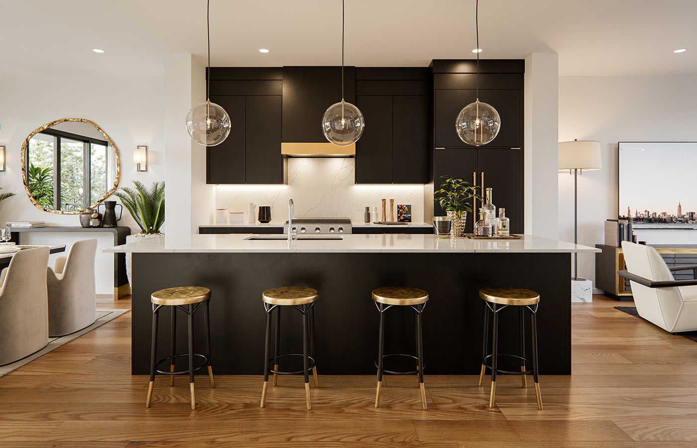 Black kitchen with white countertops, white marble tile and gold accents.