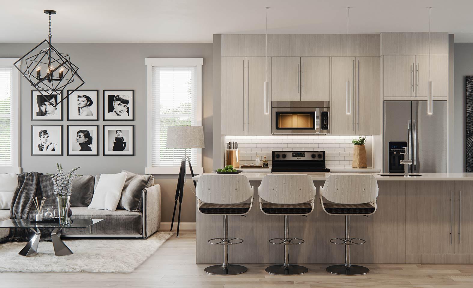Grey kitchen with Subway Tile Backsplash