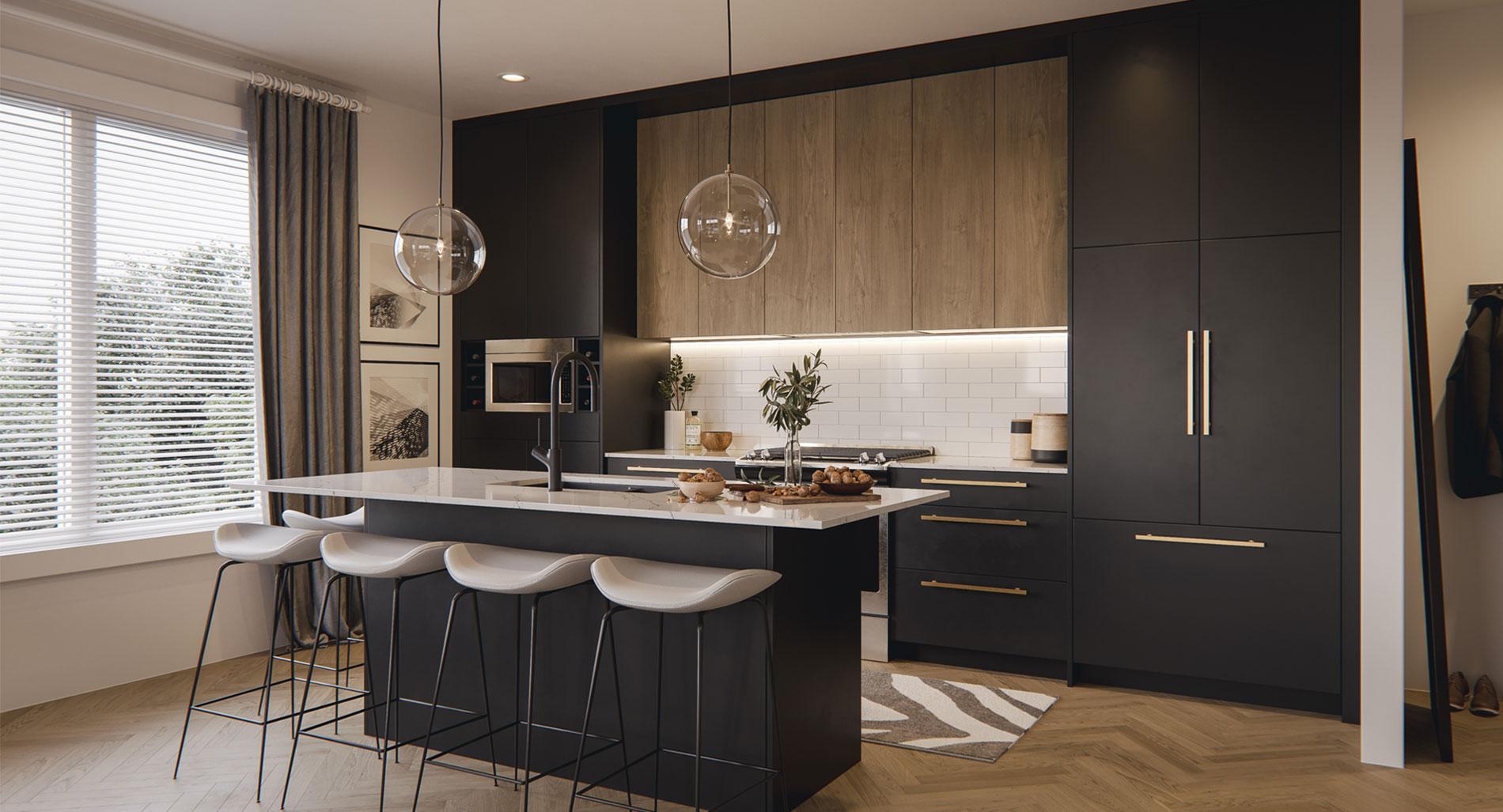 Black open layout kitchen
