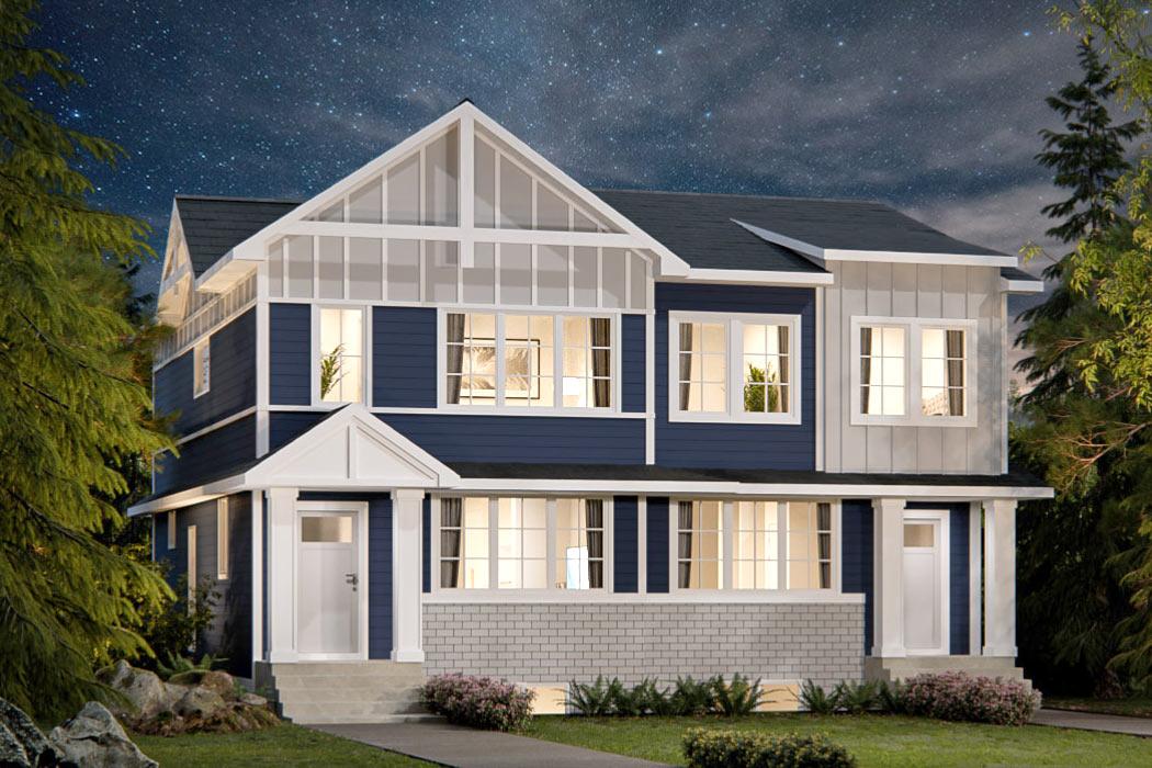 Duplex Farmhouse Style Elevation - by TRUMAN